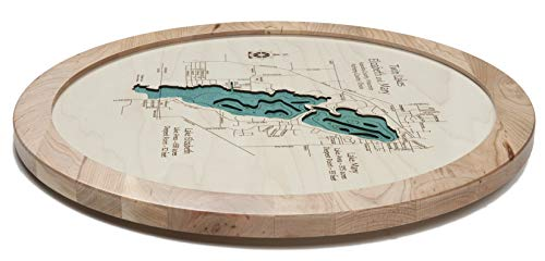 Lake Almanor - Plumas County - CA - Lazy Susan 17.5-3D Laser Carved Depth map with Glass Front.