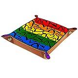 XiangHeFu Bandeja de Cuero Corazón de Color Arco Iris del Orgullo Gay Almacenamiento Bandeja Organizador Bandeja de Almacenamiento Multifunción de Piel para Relojes,Llaves,Teléfono,Monedas