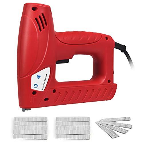 COSTWAY 2-in-1 Elektrischer Tacker Nagler Elektrisches Nagelpistolen Kit mit 1200 Tackerklammern und 300 Nägel / 20 Stück/Min