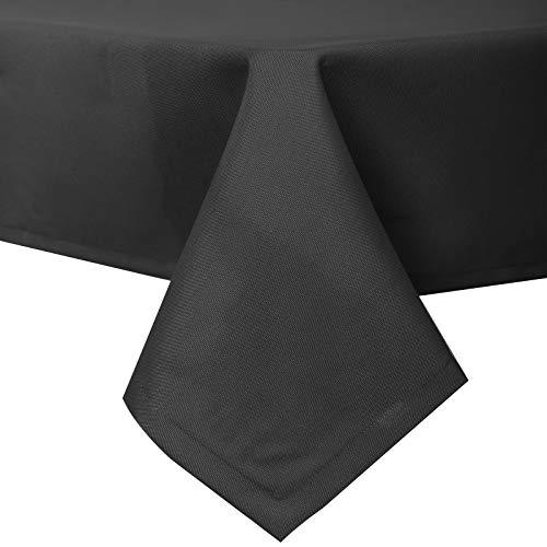 EUGAD Mantel de Mesa Comedor Moderno 130x260 cm Antimanchas Antigrasa 100% para Proteger Su Mesa Cafeterías Bar Color Negro 0231ZB