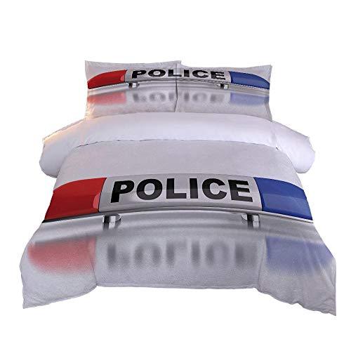 Funda nórdica Cama 200x200cm Personalidad Coche de policía Bedding Juego de Funda de edredón con 2 Fundas de Almohada Cierre de Cremallera Microfibra Suave King duve Cover Set
