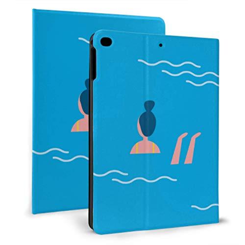 JIUCHUAN Ipad Carrying Case Summer Pool Professional Swimmers Ipad Protective Sleeve For Ipad Mini 4/mini 5/2018 6th/2017 5th/air/air 2 With Auto Wake/sleep Magnetic Ipad Kids Protective Case