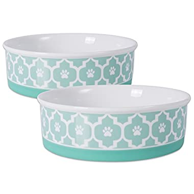 DII Bone Dry Lattice Ceramic Pet Bowl for Food & Water with Non-Skid Silicone Rim for Dogs and Cats (Large - 7.5  Dia x 4 H) Aqua - Set of 2