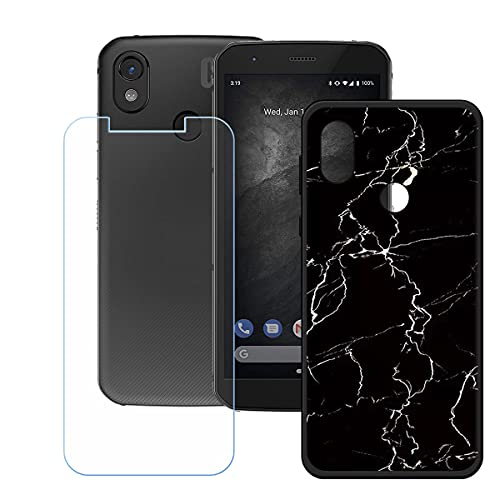 DQG Panzerglas + Hülle für CAT S52,Schwarz Cover TPU Handyhülle Silikon Tasche Hülle Schutzhülle - HD Schutzfolie Anti-Fall Disschutzfolie für (5.65