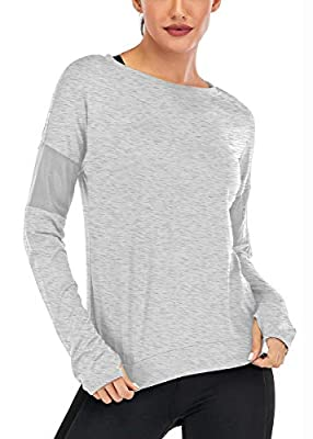 Fihapyli Long Sleeve Workout Shirts for Women Yoga Tops for Women Loose fit Yoga Shirts for Women with Thumb Hole Workout Tops for Women Gym Shirts Athletic Tops Running Shirt Women Gray M