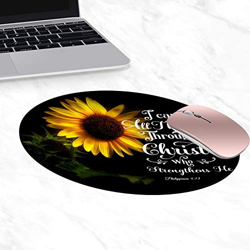 Round Mouse Pad,Bible Verse Philippians 4:13 Mouse Pad Non-Slip Rubber Material Round Mouse Mat for Office Home and Travel-Pineapple(7.87inchx7.87inch)