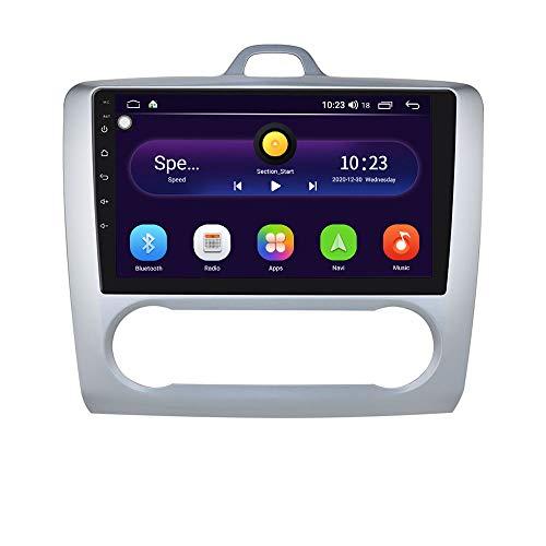 Android 10 Car Radio Stereo con Sistema de Pantalla táctil de 9 Pulgadas para Ford Focus Exi AT 2004-2011, Compatible con navegación GPS Control del Volante WiFi EQ USB Bluetooth (Plata)