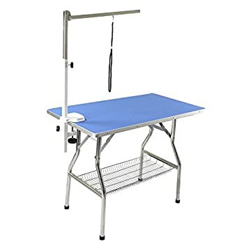 Flying Pig 44 x24  Large Heavy Duty Stainless Steel Frame Foldable Pet Grooming Table Blue
