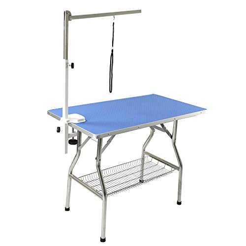 Flying Pig 44'x24' Large Heavy Duty Stainless Steel Frame Foldable Pet Grooming Table, Blue