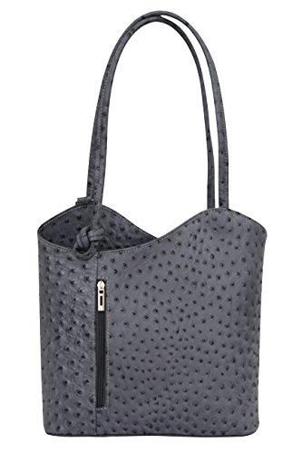 AMBRA Moda Damen Handtasche Lederrucksack Rucksacktasche Backpack 2in1 Rucksack Schultertasche SL703, Dunkelgrau, Einheitsgröße
