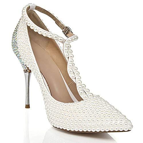 Zapatos de novia con perlas, brillantes de colores, punta plana, moda para...