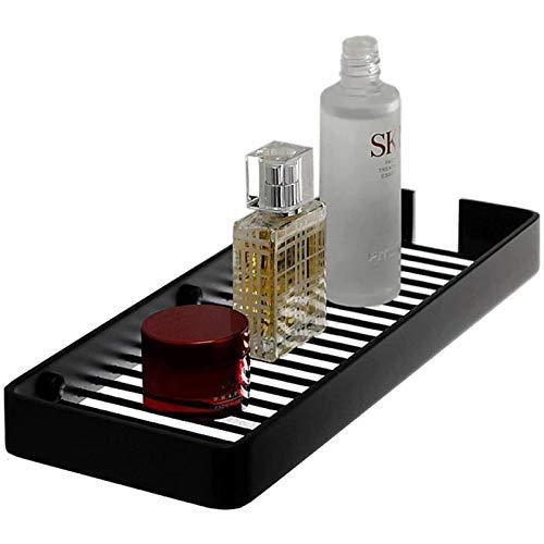 DGDF Estante de baño montado en la pared Soporte de almacenamiento de ducha de latón, soporte de almacenamiento de cosméticos, jabón de champú, negro, 30 x 11,7 x 2,6 cm