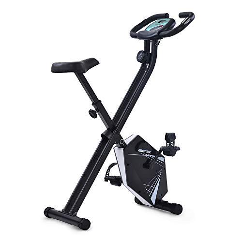 Joycelzen Bicicleta Estática Plegable, Pantalla LCD Bicicleta Fitness F-Bike con Niveles de Resistencia Magnética y Sensor de Pulso, para Gimnasio en Casa, Oficina, Culturismo, Max.110kg