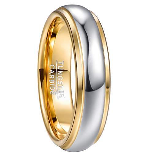 NUNCAD 6mm Tungsten Carbide Ring for Men Women Silver and Gold Wedding Band Size O½
