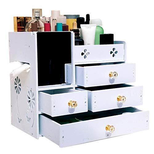 Boîte de rangement cosmétique De Bureau Stockage De Bijoux De Mode Support De Stockage Cosmétique De Tiroir Multicouche avec Miroir (Color : Blanc)