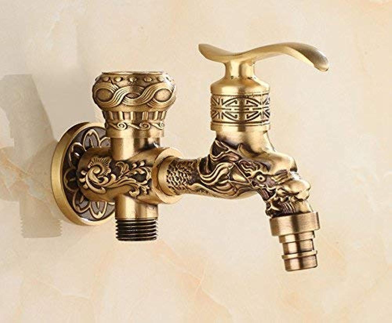 HUAIX Home Waschbecken-Mischbatterie Badezimmer Küchenbecken Wasserhahn dicht Wasserabweisend Wasserhahn nach Hause Retro-Kupfer Pool wassergekühltes Eckventil B (Farbe   B)