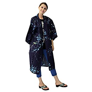 Kimono Japan Women's Happi Coat Ume Uguisu Navy