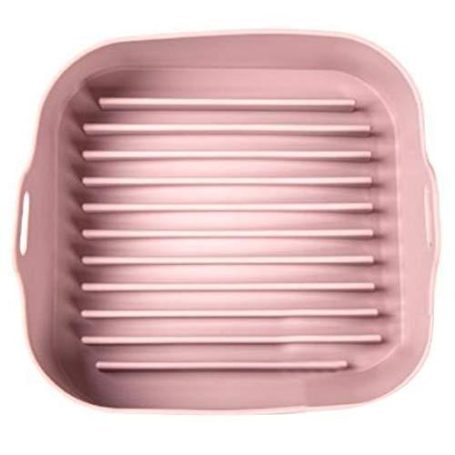 Viudecce Olla de Silicona para Freidora de Aire, Freidoras de Aire Multifuncionales, Accesorios para Horno, Bandeja para Hornear Pan Pollo Frito, Platos para Hornear (Rosa)
