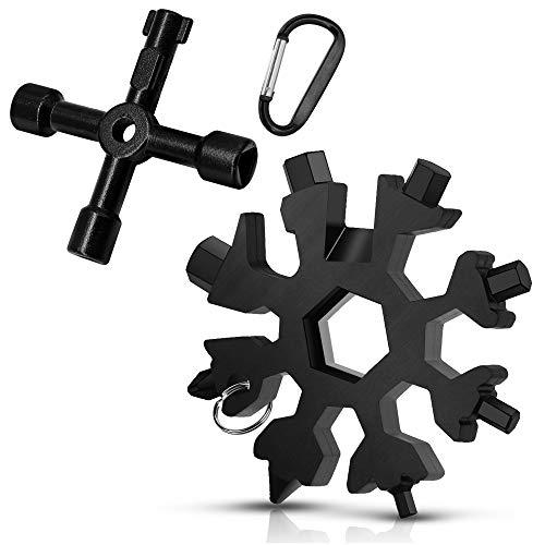 DOVAVA 18-in-1 Schneeflocken Multitool , 4 Wege Multifunktionale Utilities Schlüssel für Gas Elektrische Wasser Meter Box Öffnen Schlüssel (Schwarz)