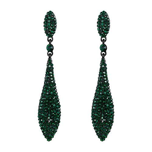EVER FAITH Women's Austrian Crystal Double Waterdrop Bridal Pierced Dangle Earrings Green Black-Tone