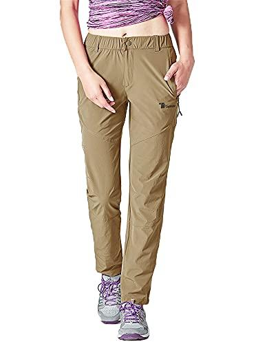 donhobo Pantalones de senderismo para mujer, de secado rápido, ultraligeros, resistentes al desgaste, protección UV, transpirables, pantalones de trekking funcionales., caqui, M