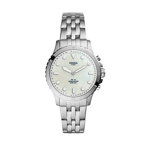 Fossil FB-01 Reloj Inteligente híbrido de Acero Inoxidable con Seguimiento de Actividad y notificaciones para Smartphone, Plateado, 18...