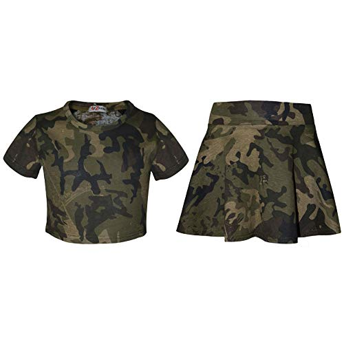 Kids Girls Crop Top & Skater Skirt Camouflage Fashion Summer Outfit Sets 5-13 Yr