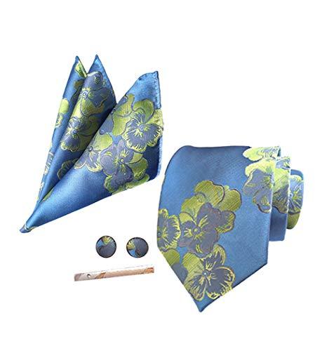 4Pcs Hombre Juego de Corbatas - Corbata Floral Jacquard Moda Bolsillo Cuadrado...