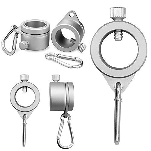 DUMGRN Aluminum Flagpole Rotating Rings - 1.25' Aluminum Flagpole Mounting Rings Set with Carbiner - Free Never Furl Spinning Flagpole Ring(Silver, Pack of 2)