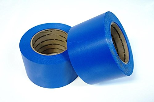 """Mr. Shrinkwrap Heat Shrink Wrap Film Tape, Blue Polyethylene with Synthetic Rubber Clear Adhesive Backing, Roll of 3"""" Wide x 108' Length, Blue MSW-713B"""