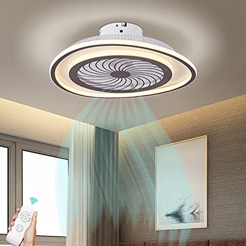 Lámpara De Techo LED Moderna Con Ventilador De Techo Mando A Distancia Luz De Ventilador Silencioso Invisible Regulable Velocidad Del Viento Ajustable Iluminación De La Sala De Estar Del Dormitorio