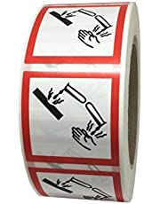 Etiquetas adhesivas - pictogramas de peligro SHG05 Corrosivos - soporte de polipropileno 50 x 50 mm - Rollo de 1000 unids