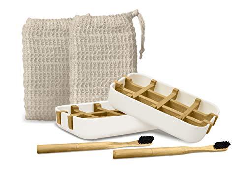 EDARTO® 2 Seifenschalen nachhaltig, umweltfreundlich aus Natur-Bambus-Holz mit Abtropfwanne + 2 Bambus Zahnbürsten +2 x Seifensäckchen/Seifenbeutel/ 100% natürlicher...