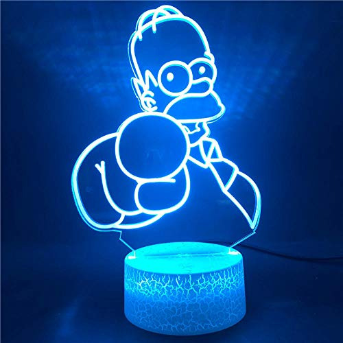 Lámpara De Ilusión 3D Luz De Noche Led Los Simpson De Color Con Control Remoto Para La Base Del Bebé Sensor Táctil Del Dormitorio Lámpara De Mesa De Regalo De Vacaciones De Cumpleaños Para Niños