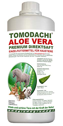 Tomodachi Aloe Vera für Katzen, Futterzusatz, Nahrungsergänzung Katze, reines Naturprodukt ohne Chemie, Aloe Vera Premium Direktsaft aus dem Innengel frischer Aloe-Vera Pflanzen 1 Liter Flasche