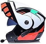 DFBGL Bluetooth Modular Flip up Front Casco de Motocicleta Casco de Moto Integral Ligero con Doble Visera Cascos de Motocross L = 58~59CM (Color: P, Tamaño: XL = 60~61CM)