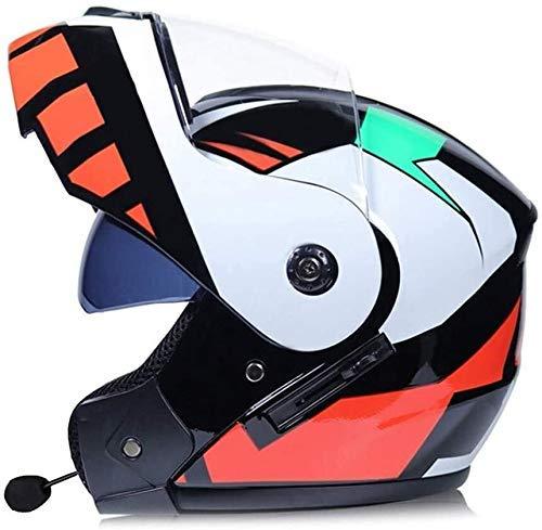JXINGY Bluetooth Motorcycle Helmet, Front Flip Double Lens Anti-Glare Anti-Fog Full Face Helmet, Adult Motorcycle Off Road Helmet MTB Unisex Full Face Crash Helmets