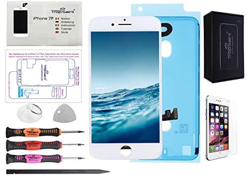 Trop Saint Pantalla Blanco para iPhone 7 Plus Completa Premium Kit de reparación LCD con Guía, Herramientas, Film Protector Pantalla y Pegatina Adhesiva Impermeable