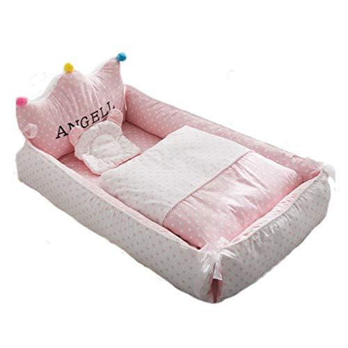 YYRCP 3Pcs Baby Bionic Bett, Tragbares Bett Für Neugeborene Und Waschbare Babydecke Mit Babykissen, Babynest Newborn Nest Stubenwagen Perfekt Für Co-Sleeping 0-24Months,F