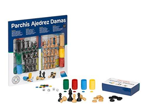 Falomir Tablero de Parchís, Ajedrez y Damas con Accesorios 33cm, Juego de Mesa, Clásicos, Color no Aplica, 33 cm (27914)