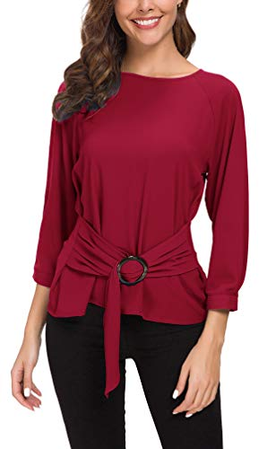 ACONIYAWomens Tie Knot Casual Belted Blouse Elegant Long/Short Sleeve Shirt Work Tunic Tops(red,M,LS)