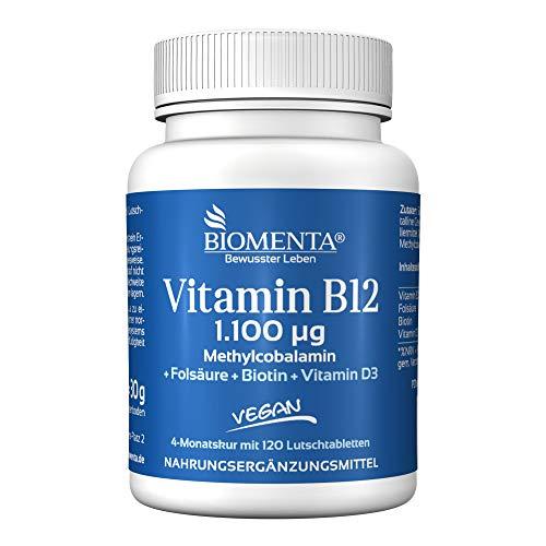 BIOMENTA VITAMIN B12 HOCHDOSIERT | AKTION!!! | 1.100 mcg Methylcobalamin + Vitamin D3 + Biotin + Folsäure | VEGAN | 4 MONATSKUR | 120 Vitamin-B12-Lutschtabletten