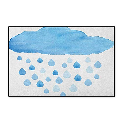 Nature,Door Mats for Inside,Rain Drops and Cloud in Watercolor Painting Effect Cute Nimbus Fun Art Illustration,3D Digital Printing Mat,Blue White,Size,20