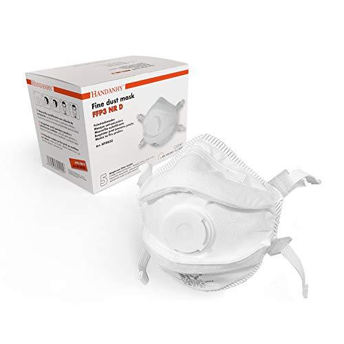 OPTIMUM MEDICAL FFP3 Atemschutzmasken mit Ausatemventil (x5) - EN 149:2001 und A1:2009 konform, 4-Punkt-Kopfband mit gepolstertem Futter für zusätzlichen Komfort und Sicherheit (Typ B - 5 Stück)