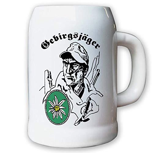 Caraffa/boccale di birra 0,5L–Cacciatore Edelweiss Esercito Esercito Fanteria gelaende montagne Alpi # 8742