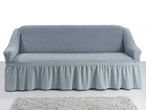My Palace Giorgia Sofabezug 3-Sitzer Rutschfester Sofaüberwurf Couchcover Sofa Überwurf elastische Sofahusse Couchbezug Sofaschonbezug 140-210cm Grau