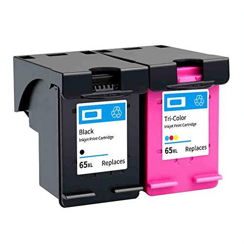 Reemplazo de cartucho de tinta remanufacturado para HP 65 65XL, se adapta a HP AMP 100 120 125 130 Deskjet 2620 2621 2622 2624 2625 Envy 5020 5030 5052 5055 Impresora-Black+Tri-Color