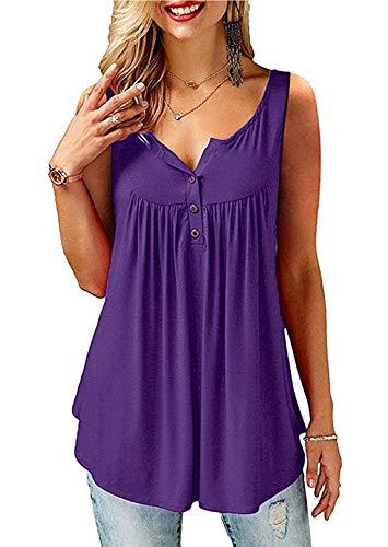 Amoretu Damen Tops Schulterfrei Oberteil V Ausschnnitt Tshirt Sommer Tunika Bluse Asymmetrisch, L, K-violett