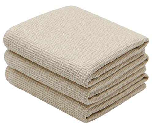 VeraSong Cotton Waffle Weave Kitchen Dish Towels,Ultra Absorbent Quick Drying Dish Cloths, Soft Comfort Tea Towel,17nch x 25Inch,3 Pack (Beige)