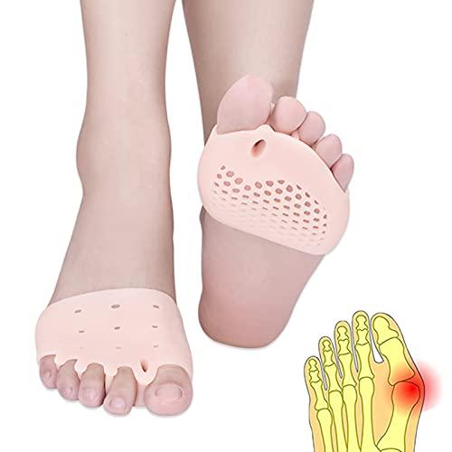 Almohadillas metatarsianas, separador de dedos, gel Separadores de almohadillas metatarsianas, (4 PCS) Nuevo material,gel transpirable y suave, para pies ampollas, dolor en el antepié.